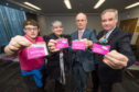 Nathan Sanderson, local officer for Highlands and Islands Student Association, Manon Wells Jesus, local officer for HISA, Moray College principal David Patterson and Minister for Further Education and Higher Education, Richard Lochhead, launch the cards at Moray College UHI.