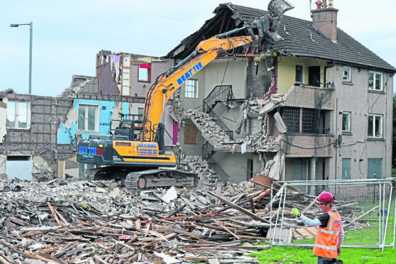 Demolition of Aberdeen flats on Logie Avenue to make way for Haudagain improvements.  Picture by Kenny Elrick.