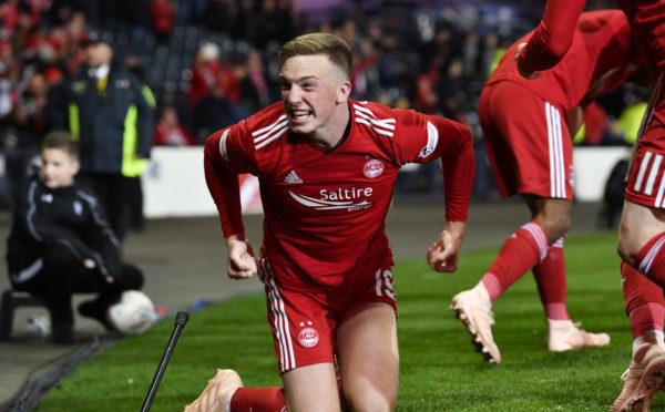 Aberdeen's Lewis Ferguson celebrates his goal for the Dons against Rangers