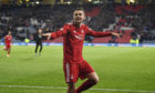 Aberdeen's Mikey Devlin celebrates his side's Betfred Cup semi-final win against Rangers