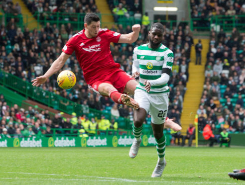 Scott McKenna has been banned for this tackle on Odsonne Edouard.