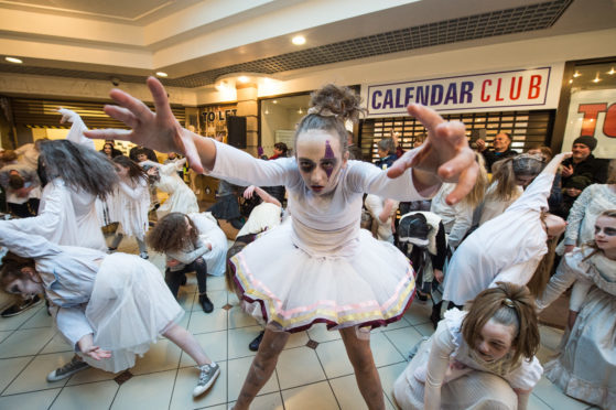 St Giles Theatre Group performed at the St Giles Shopping Centre for the event.