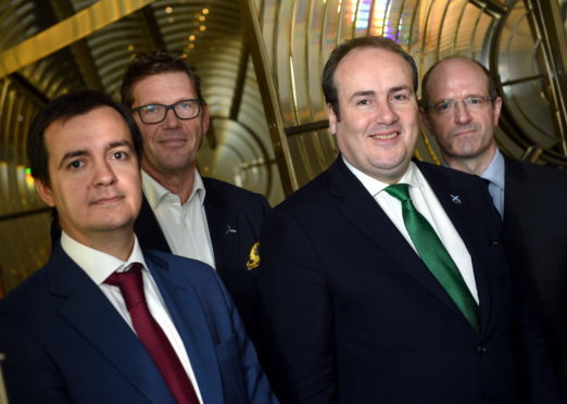 Pictured are from left, Oscar Diaz (Project Director for Moray East), Julian Brown (MHI Vestas UK Country Manager), Energy Minister Paul Wheelhouse and Michael Murray (Fraserburgh Harbour Convener) at the Museum of Scottish Lighthouses, Fraserburgh.