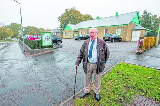 Community Councillor, David McGrath pictured outside Smithton Community Hall.