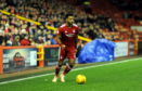 Shay Logan in action for Aberdeen against Hamilton Accies last night.