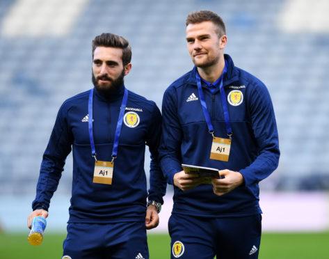 Mikey Devlin with Graeme Shinnie during the last Scotland international break.