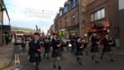 Robert Gordon's College pipe band led the parade around Peterhead.