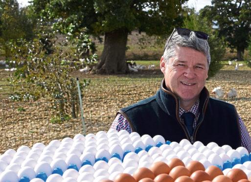 The British Free Range Egg Producers Association chairman James Baxter who farms near Stranraer.