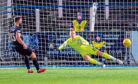 17/11/18 LADBROKES CHAMPIONSHIP PALMERSTON PARK - DUMFRIES QOTS V INVERNESS CT (3-3) Inverness CT's Sean Welsh levels the scoring from the penalty spot