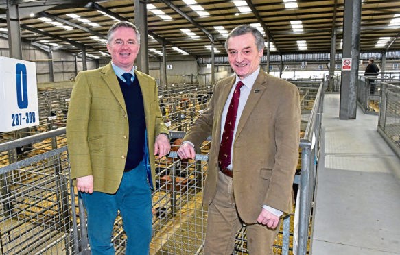 Colin Clark MP (left) and NFU's Charlie Adam.