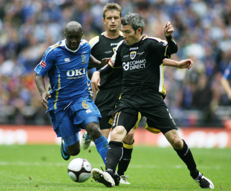 Kevin McNaughton takes on Lassana Diarra (left) in the 2008 FA Cup final.