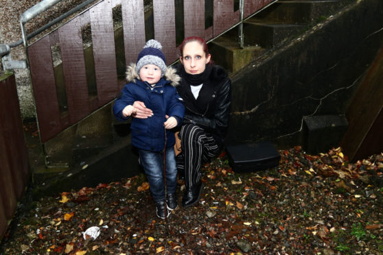 Alison McKnight and her son David Laird 2 near the rat traps at her home.