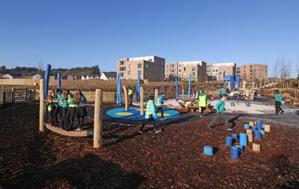 Hazlehead school pupils visit an award-winning Stewart Milne play park at Countesswells. (Picture Simon Price/Firstpix Photography)