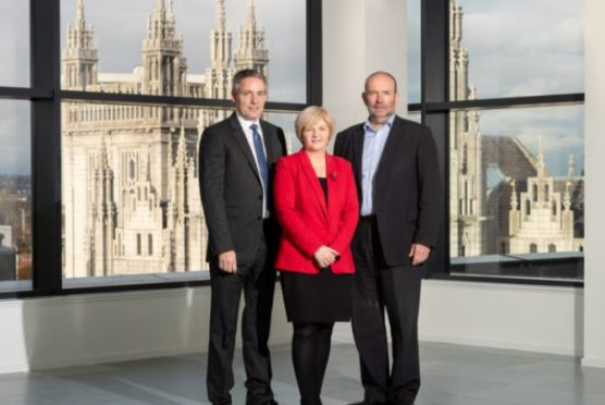 Gary Thomson, Tenaris managing director UK, Jenny Laing, Aberdeen City Council Co-Leader Councillor Jenny Laing, Stephen Turner, regional director, Scotland, at Muse Developments.