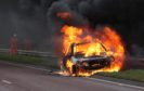The car which went on fire on the A835 near the Conon Bridge junction.