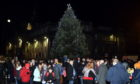 The 35ft Norwegian fir Christmas Tree on Aberdeen Castlegate in 2018