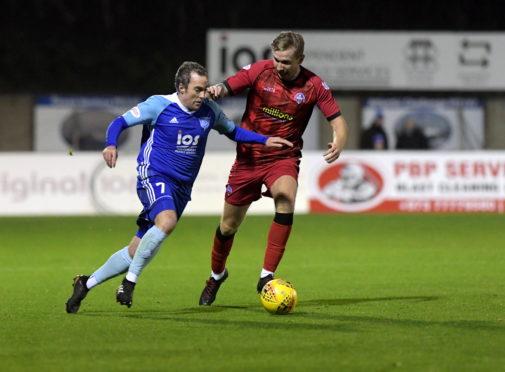 Jamie Stevenson in action for Peterhead against Morton on Tuesday.