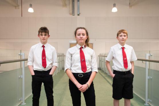 Three Elgin Academy mental health champions Josh Hanover, 13, George Lunn 14 and Robyn Lean, 14.