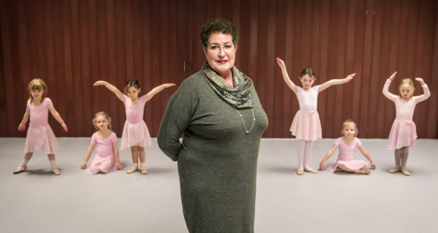 Rosalyn Wie, administrator for Moray Dance, at Elgin Community Centre with a ballet class.