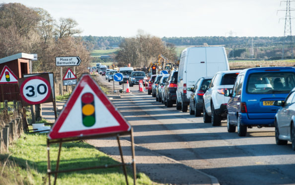 A roundabout is being created on the A96 between Elgin and Lhanbryde.