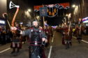 Guizer Jarl Ian Bray parades down Union Street