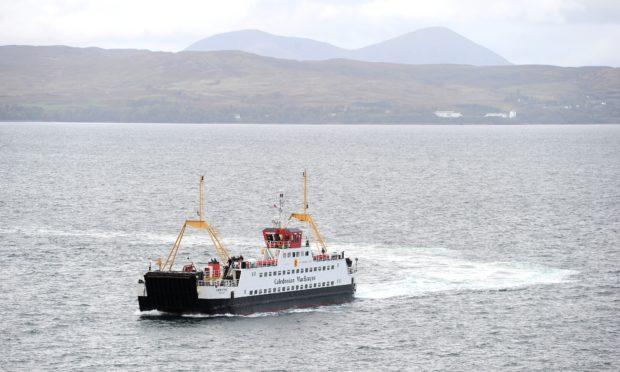 The Caledonian MacBrayne ferry, 'Loch Fyne' arrives in Mallaig after its crossing from Armadale in Skye.