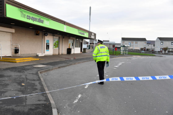 The scene outside the Co-op on Buchan Road, Fraserburgh. Pictures by Duncan Brown