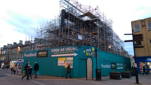 Moray Council issued a dangerous building notice about the Poundland building in May.