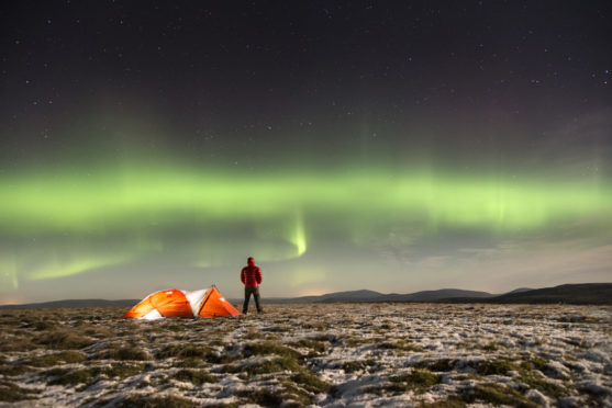 Northern lights are visible on clear nights in the Cairngorms.