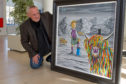 Artist Steven Brown with a special artwork depicting McCoo and Oor Wullie, commissioned by DC Thomson.
