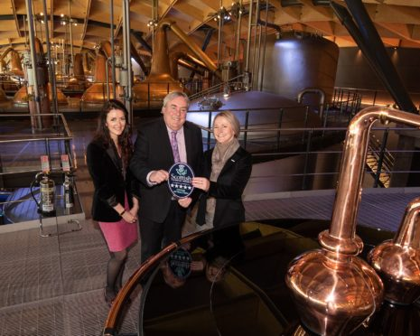 VisitScotland Chief Executive, Malcolm Roughead presents General Manager at The Macallan, Gail Cleaver with a five-star VisitScotland quality assurance award. They are joined by VisitScotland Regional Director, Jo Robinson.