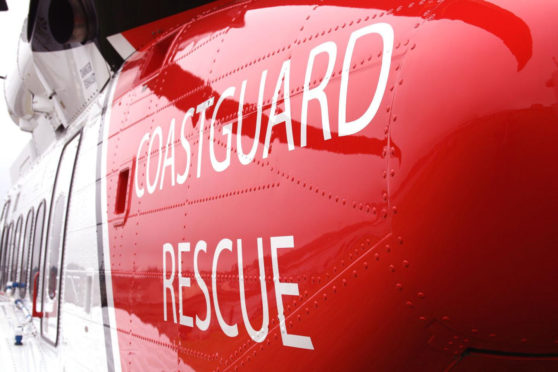 The Coastguard helicopter was used to airlift two crew from a vessel.