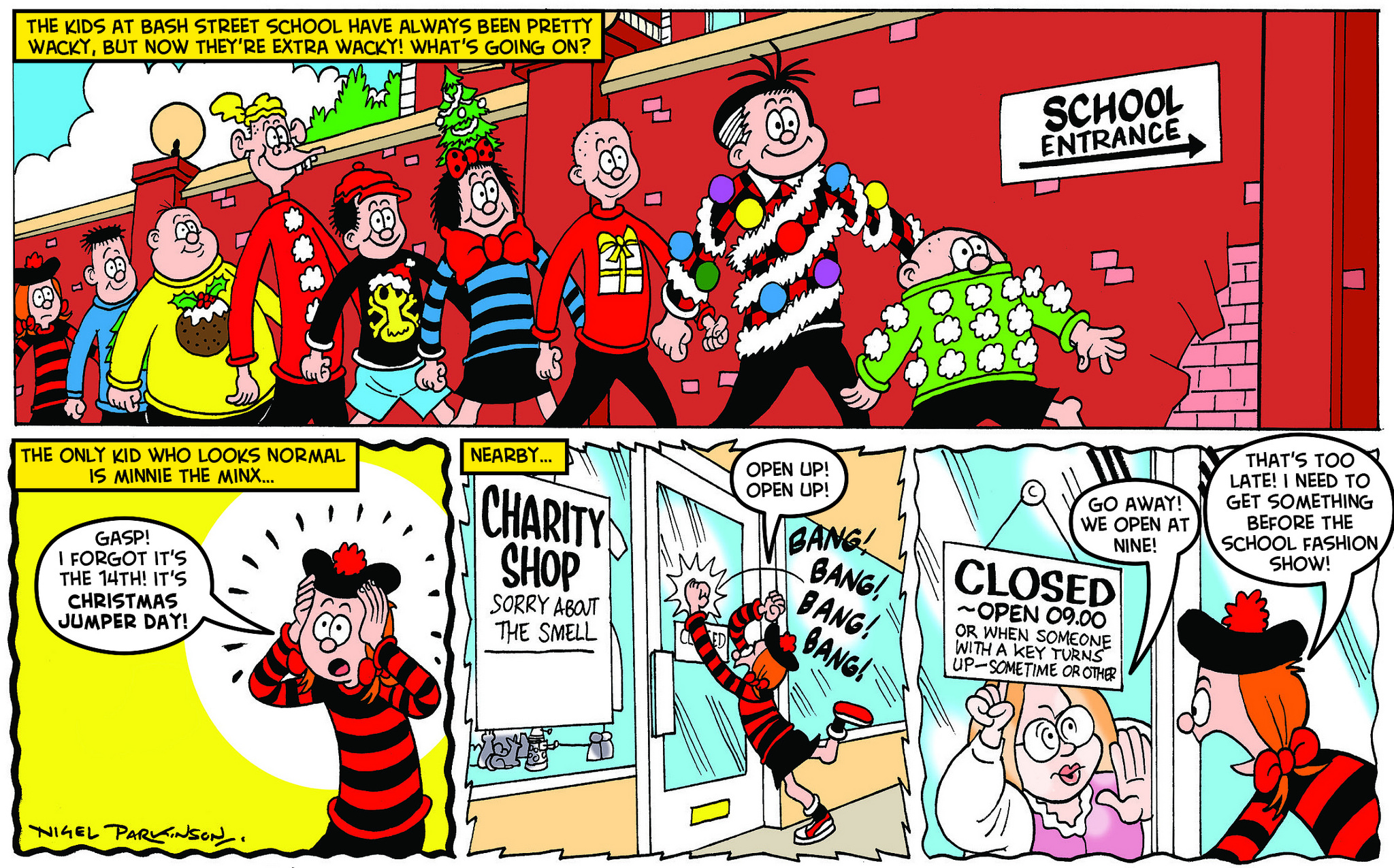 Power Rangers Christmas Jumper.Dennis And Beloved Beano Town Characters Don Wacky Christmas