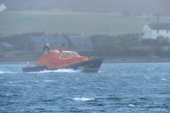 The Longhope Lifeboat was joined by search and rescue helicopter Rescue 900 at the incident