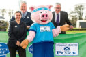 From left -QMS chairman Kate Rowell, QMS chief executive Alan Clarke, the Specially Selected Pork mascot and Rural Economy Secretary Fergus Ewing.