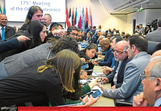 Iran's oil minister Bijan Namdar Zanganeh answers the press members' questions ahead of the 175th ordinary meeting of Opec