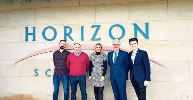From left, Wayne McNicoll, Stewart Macdonald, Lynn Stewart, John Innes and Harry Stag, of Moray-based Fibre 1.