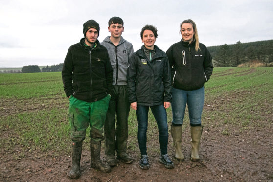 Rural affairs minister Mairi Gougeon, second from right, with Ringlink pre-apprenticeship scheme participants, from left, Aiden Hogg, Ryan Talbot and Kate Sellar