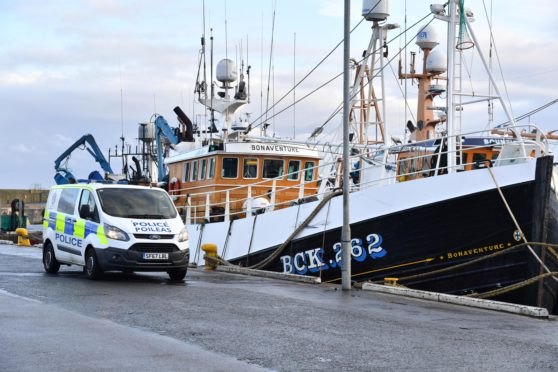 A police vehicle at Fraserburgh harbour.