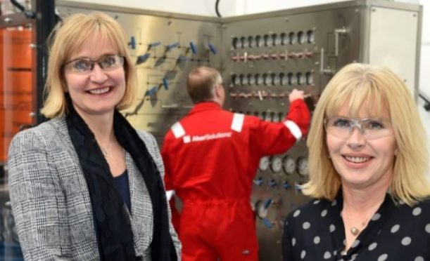 Chief executive of Oil & Gas UK, Deirdre Michie and Sian Lloyd Rees of Aker Solutions.
