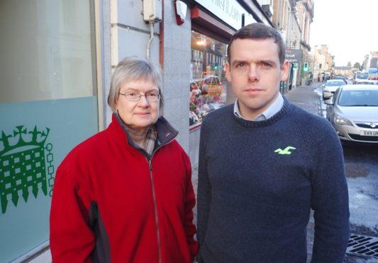 Douglas Ross with councillor Claire Feaver