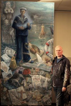 Artist William Wallace with his tribute to the sailors who perished in the Iolaire disaster nearly 100 years ago
