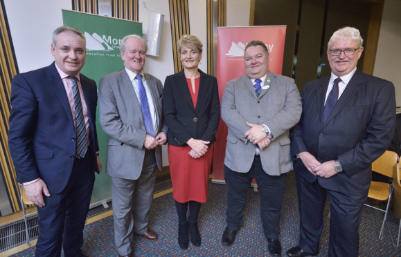 Pictured:  Richard Lochhead MSP, Stewart Stevenson MSP, Rhona Gunn, director for economic development at Moray Council, Moray Council leader Graham Leadbitter, Michael Urquhart, chairman of Moray Growth Deal Business Assembly.