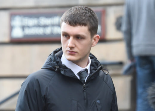Gavin Wallace leaving Elgin Sheriff Court