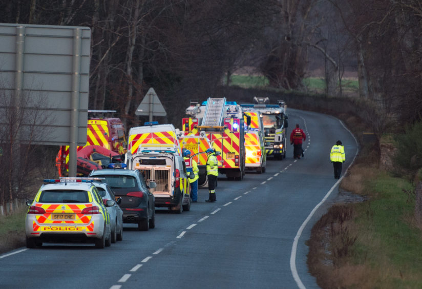 The incident at the Fochabers junction road turning down towards Spey Bay.