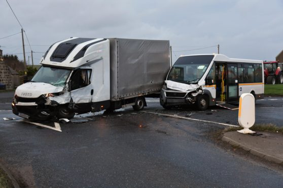 The Ardlaw crossroads where the school bus hit the lorry.