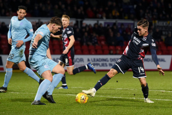 Queen of the South's Callum Semple (L) in action with Ross County's Josh Mullin.