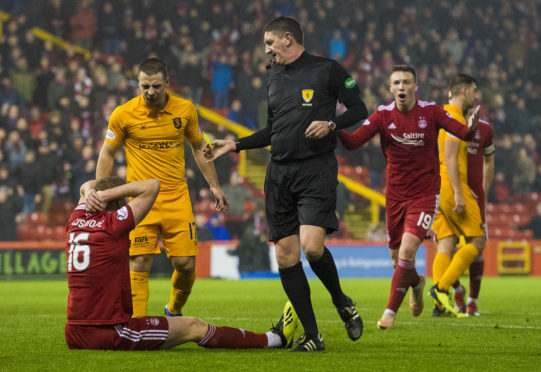 Sam Cosgrove was booked for diving by referee Craig Thomson.