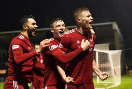 Sam Cosgrove celebrates his winner against St Mirren in December.