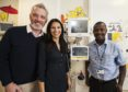 Nicola Wood and her husband Garreth Wood pictured with Dr Sam Ibhanesebhor, head of neonatal medicine at Wishaw General Hospital (right) after the couple donated Hero equipment to the Neo Natal Unit at Wishaw Hospital in 2015